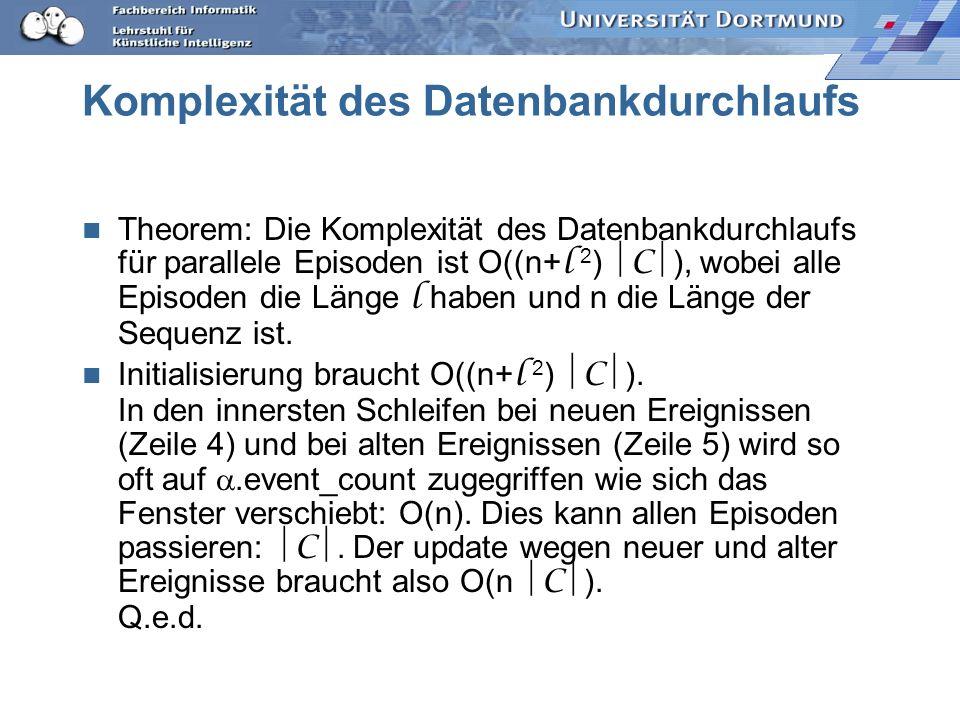 Komplexität des Datenbankdurchlaufs Theorem: Die Komplexität des Datenbankdurchlaufs für parallele Episoden ist O((n+ l 2 ) C ), wobei alle Episoden die Länge l haben und n die Länge der Sequenz ist.