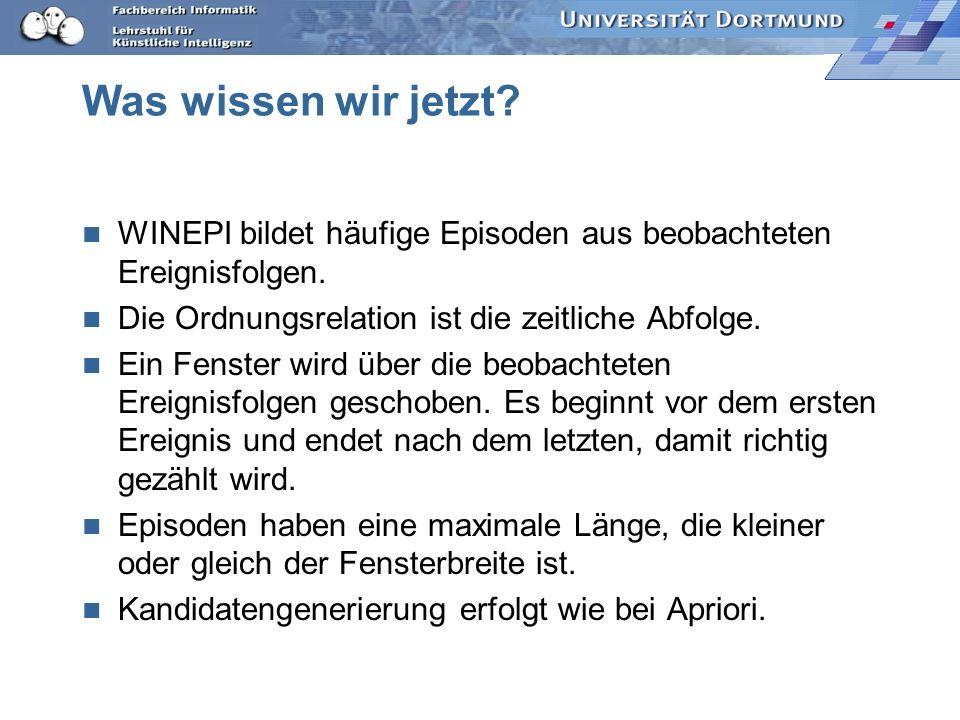 Was wissen wir jetzt.WINEPI bildet häufige Episoden aus beobachteten Ereignisfolgen.