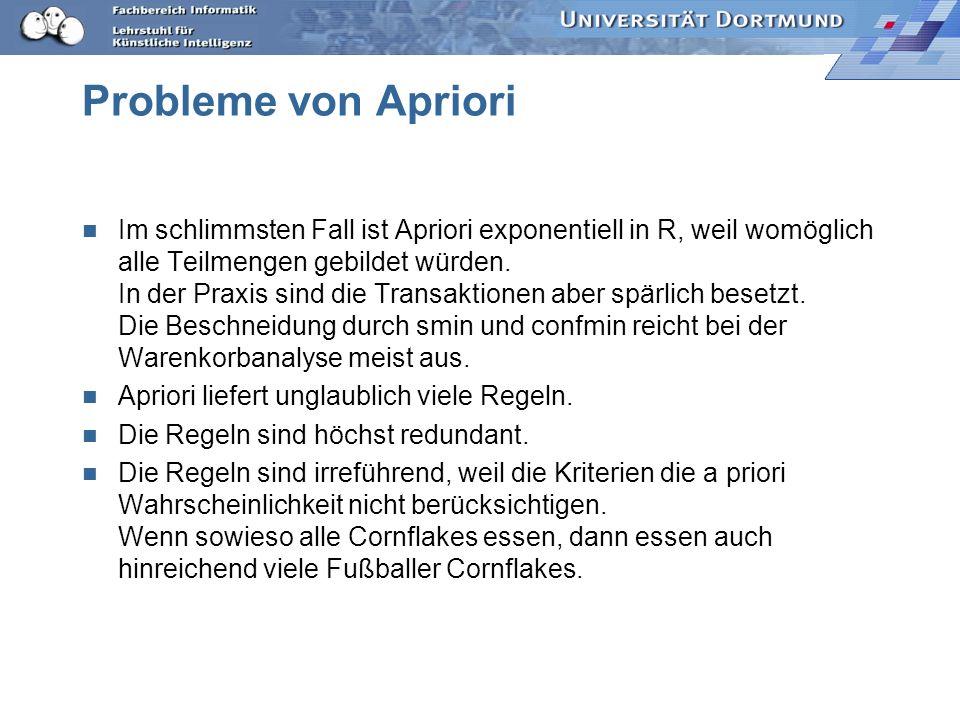 Probleme von Apriori Im schlimmsten Fall ist Apriori exponentiell in R, weil womöglich alle Teilmengen gebildet würden.