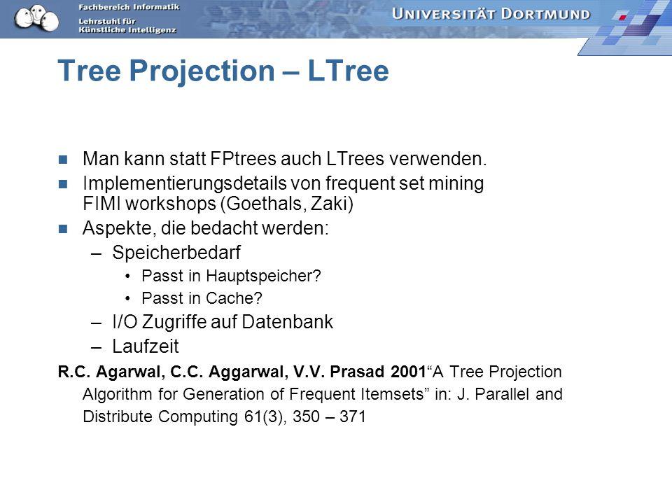 Tree Projection – LTree Man kann statt FPtrees auch LTrees verwenden.