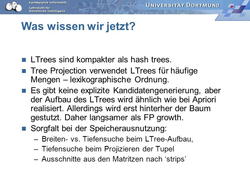 Was wissen wir jetzt.LTrees sind kompakter als hash trees.