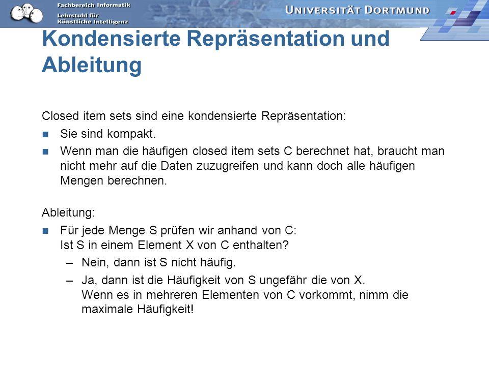 Kondensierte Repräsentation und Ableitung Closed item sets sind eine kondensierte Repräsentation: Sie sind kompakt.