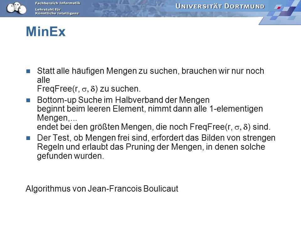 MinEx Statt alle häufigen Mengen zu suchen, brauchen wir nur noch alle FreqFree(r, ) zu suchen.