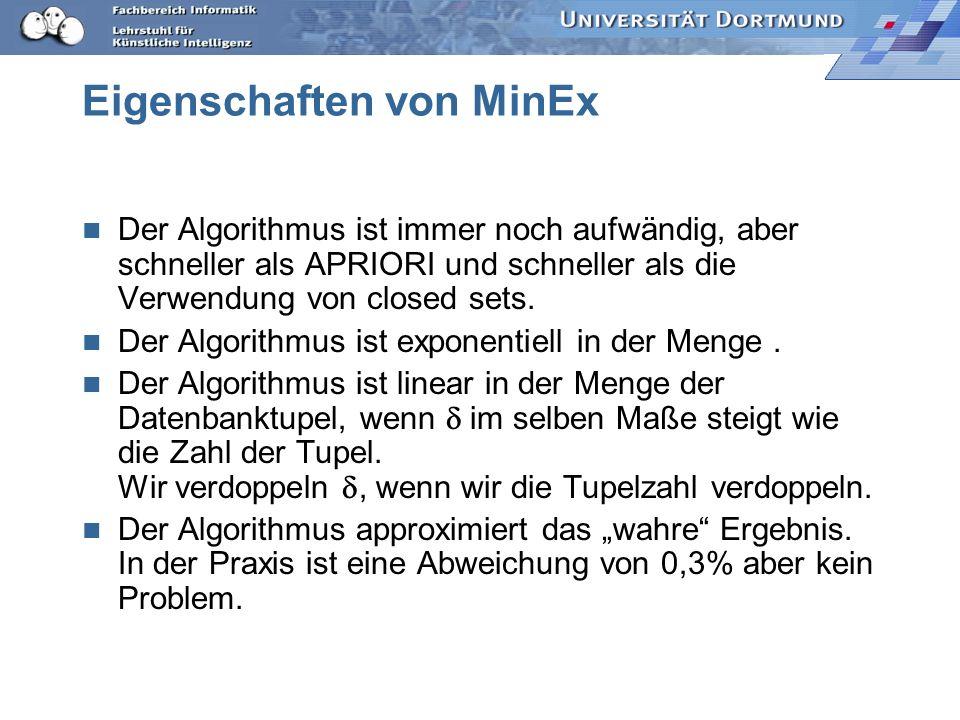 Eigenschaften von MinEx Der Algorithmus ist immer noch aufwändig, aber schneller als APRIORI und schneller als die Verwendung von closed sets.