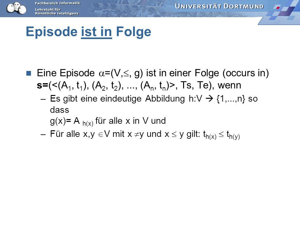 Episode ist in Folge Eine Episode =(V,, g) ist in einer Folge (occurs in) s=(, Ts, Te), wenn –Es gibt eine eindeutige Abbildung h:V {1,...,n} so dass g(x)= A h(x) für alle x in V und –Für alle x,y V mit x y und x y gilt: t h(x) t h(y)