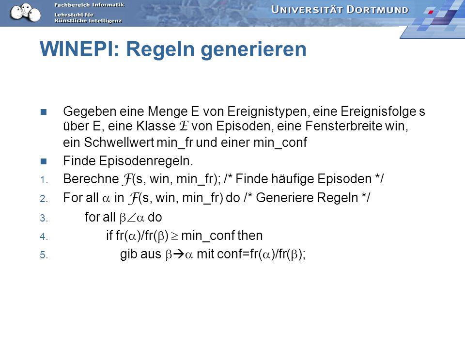 WINEPI: Regeln generieren Gegeben eine Menge E von Ereignistypen, eine Ereignisfolge s über E, eine Klasse E von Episoden, eine Fensterbreite win, ein Schwellwert min_fr und einer min_conf Finde Episodenregeln.