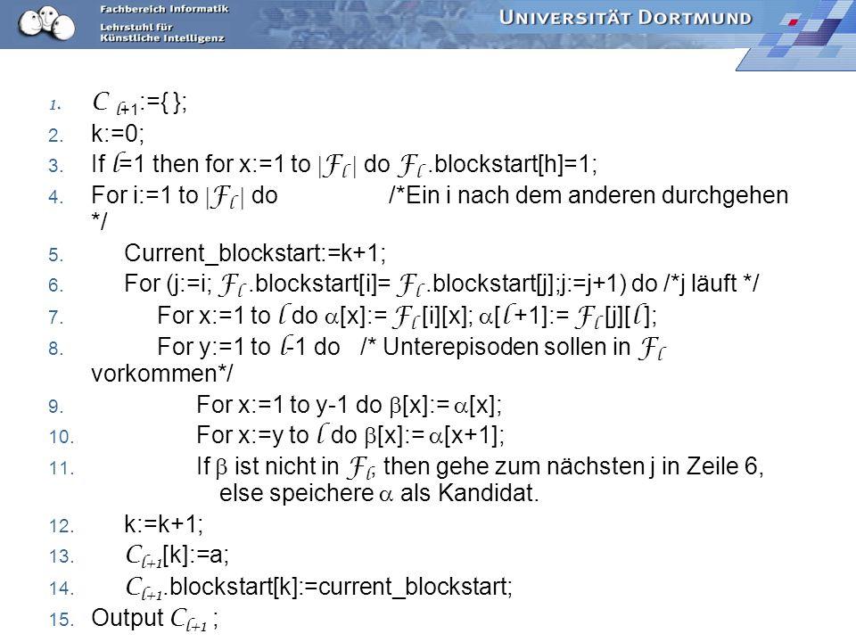 1.C l +1 :={ }; 2. k:=0; 3. If l =1 then for x:=1 to F l do F l.blockstart[h]=1; 4.