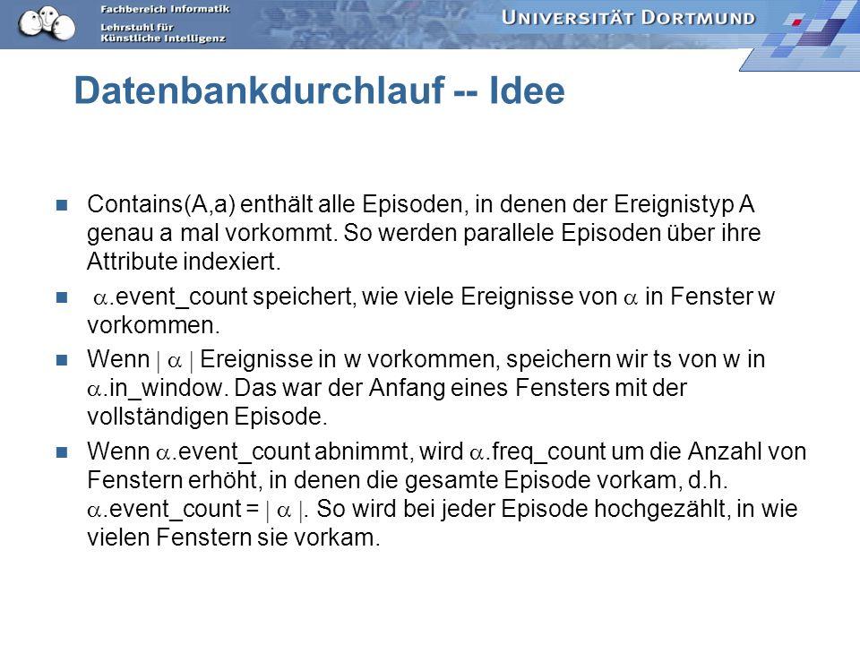 Datenbankdurchlauf -- Idee Contains(A,a) enthält alle Episoden, in denen der Ereignistyp A genau a mal vorkommt.