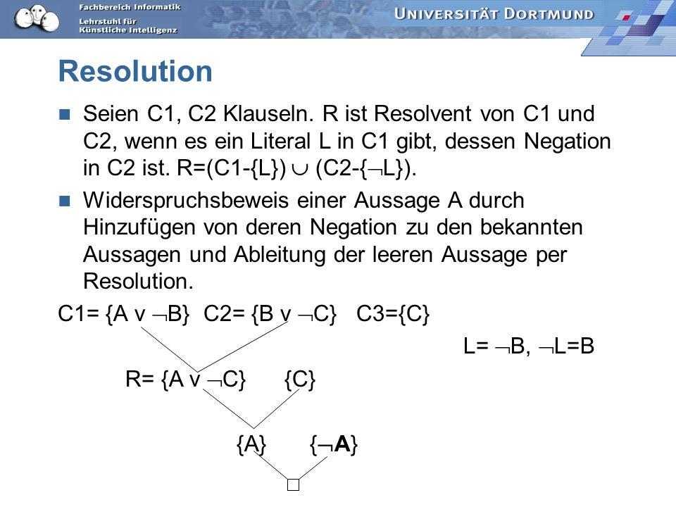 Logik Deduktion: logische Folgerung durch Ableitung modelliert. Hornlogik Eine Formel C ist eine Hornformel, wenn C in konjunktiver Normalform ist und
