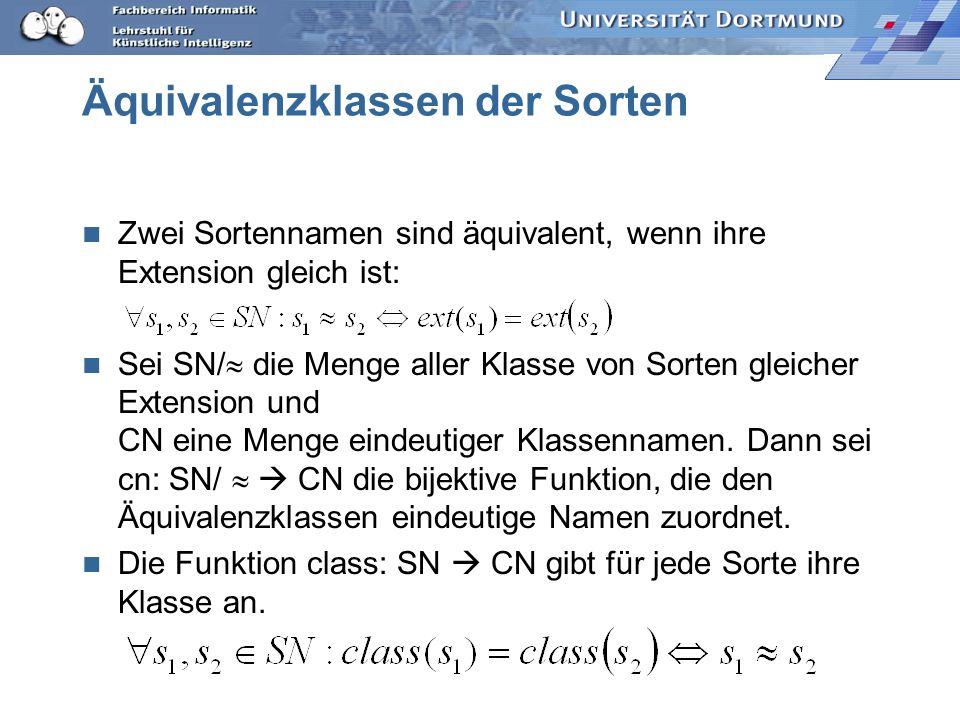 Beispiel FB={ p(a,b), p(b,c), p(c,a), r(a,b), r(a,d)} SN={A,B,C,D} A=ext(arg_sort(1,p))={a,b,c} C=ext(arg_sort(1,r))={a} B=ext(arg_sort(2,p))={a,b,c}