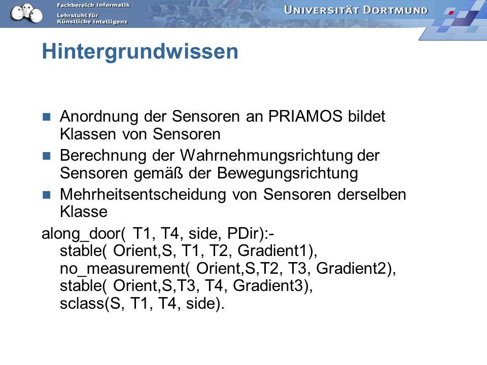 Kombination verschiedener Sensoren Sensorarten (Ultraschall, Kamera, Laserscanner) verknüpfen along_door( T1, T2, PDir):- sonar_along_door( T1, T2, SC