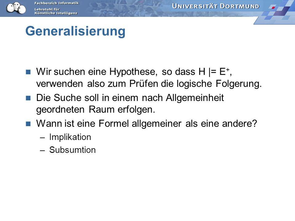 Was wissen wir jetzt? Ausdruckskraft: ILP hat als Hypothesensprache L H eine eingeschränkte Prädikatenlogik (logisches Programm). Ausführbarkeit: Logi