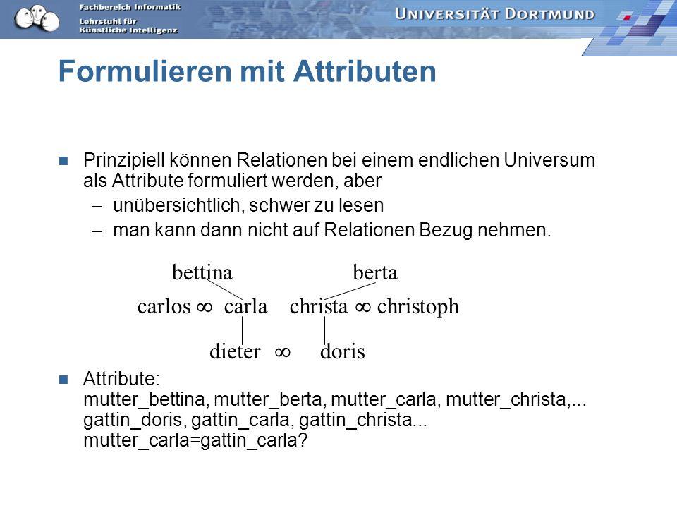 Induktive Logische Programmierung Bisher nur (gewichtete) Attribute –zur Beschreibung der Beispiele (LE) –zur Beschreibung der Begriffe (LH) Ausführba