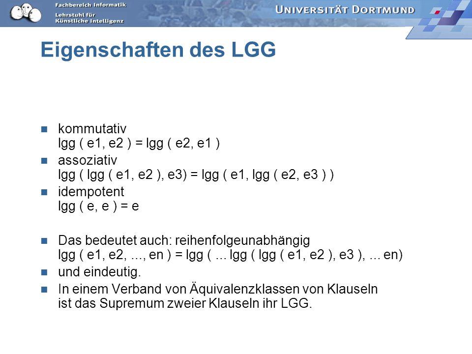 LGG (C1, C2) C1: {member(2, [1,2]), ¬ member (2, [2])} C2: {member (c, [a, b, c]), ¬ member(c, [b,c]), ¬ member (c, [c])} alle Paare: [¬ m(2, [2]), ¬