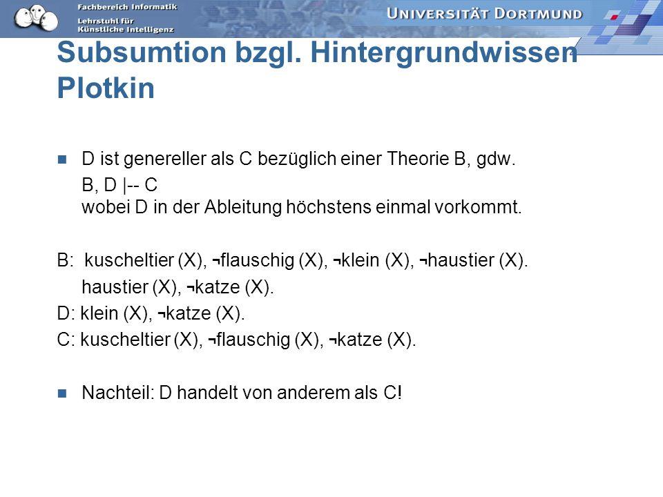 Hintergrundwissen B: haustier (X), tier(X), im_haus (X) D: kuscheltier (Z), flauschig (Z), tier (Z), im_haus (Z). C: kuscheltier (Y), flauschig (Y), h