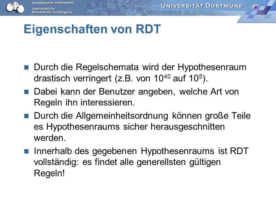 RDT Regeln lernen Regeln Fakten Sortenverbandabstrahierter Regelgraph Regelmodelle r(a,b) p (b) q (a) r(X,Y) & p(Y) --> q(X) --> Q(X) P(X) --> Q(X) R(