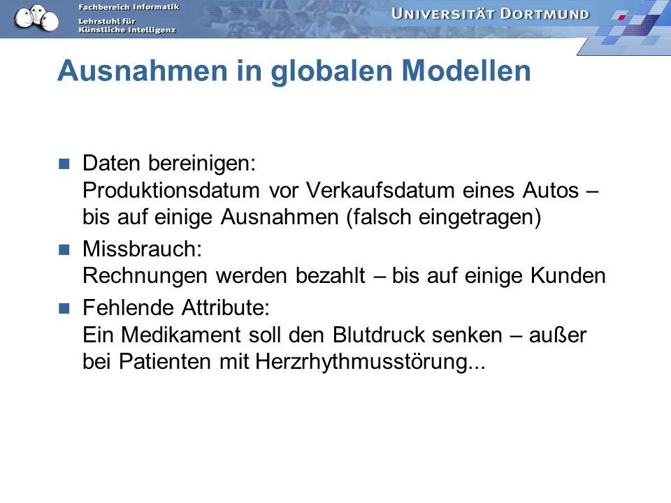 Lokale Muster statt globaler Modelle Globale Modelle – lokale Muster –Ausnahmen –nicht abgedeckte Beobachtungen –Ausreißer Unterschiedliche Lernstrate
