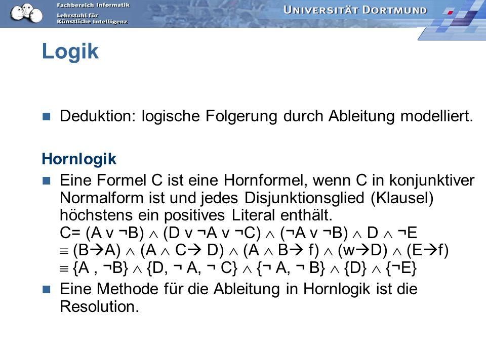 Generalisierung: Implikation Genereller als: Eine Hornklausel D ist genereller als eine andere, C, gdw.