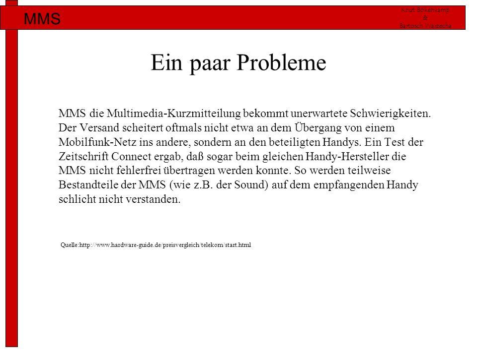 Knut Bökenkamp & Bartosch Warzecha MMS Ein paar Probleme MMS die Multimedia-Kurzmitteilung bekommt unerwartete Schwierigkeiten. Der Versand scheitert