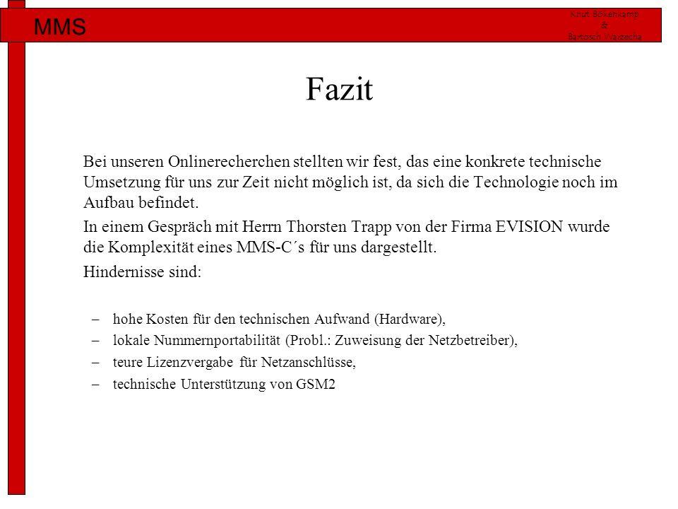 Knut Bökenkamp & Bartosch Warzecha MMS Fazit Bei unseren Onlinerecherchen stellten wir fest, das eine konkrete technische Umsetzung für uns zur Zeit n