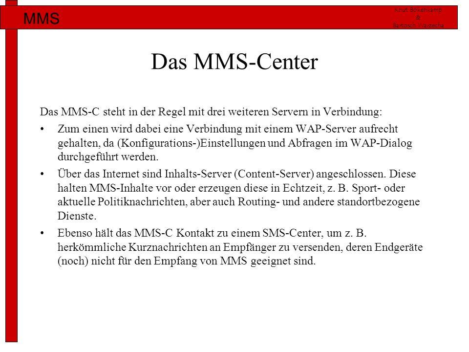 Knut Bökenkamp & Bartosch Warzecha MMS Das MMS-Center Das MMS-C steht in der Regel mit drei weiteren Servern in Verbindung: Zum einen wird dabei eine