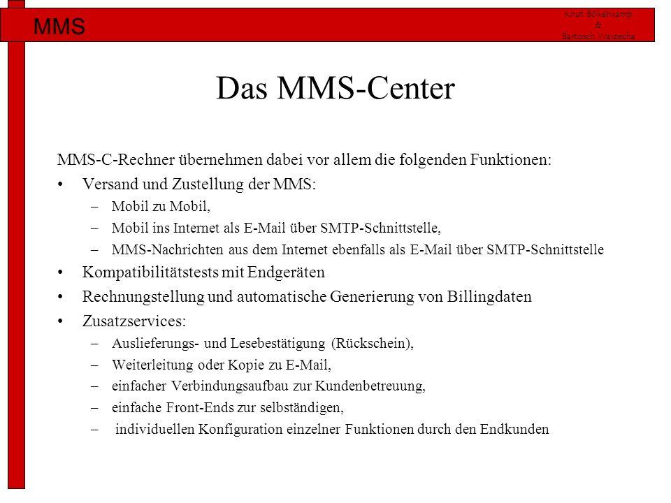 Knut Bökenkamp & Bartosch Warzecha MMS Das MMS-Center MMS-C-Rechner übernehmen dabei vor allem die folgenden Funktionen: Versand und Zustellung der MM