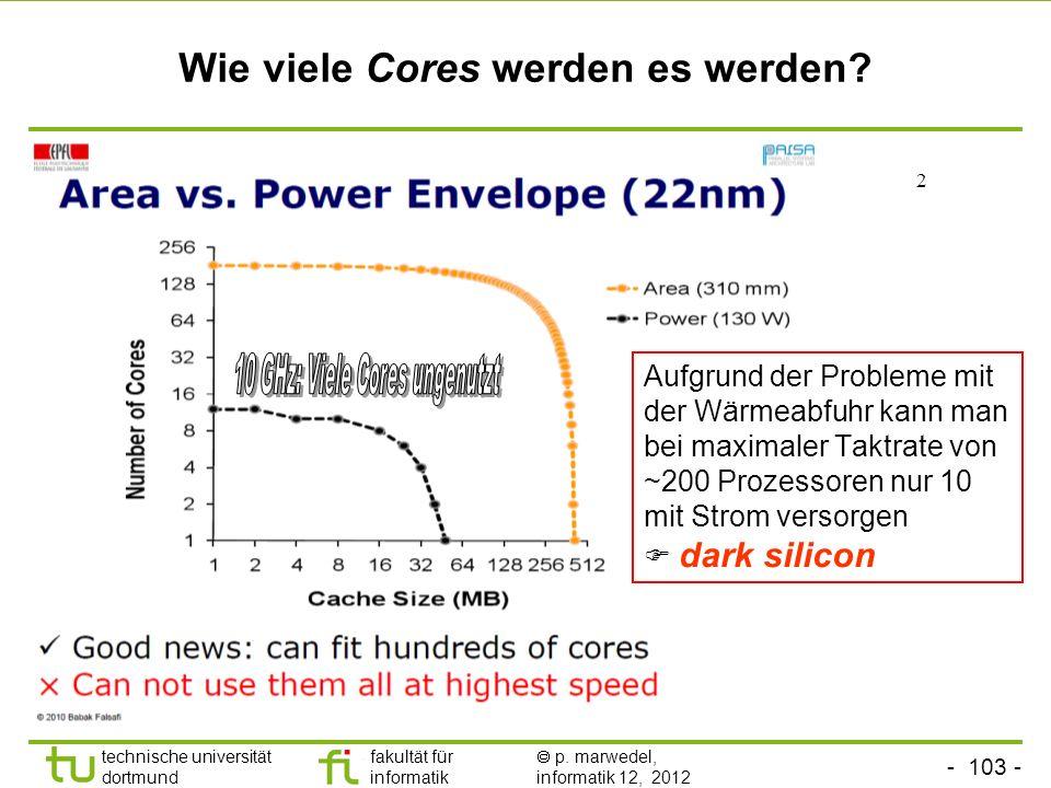 - 103 - technische universität dortmund fakultät für informatik p. marwedel, informatik 12, 2012 Wie viele Cores werden es werden? 2 Aufgrund der Prob