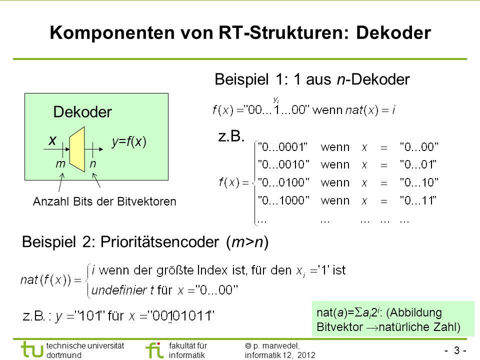 - 3 - technische universität dortmund fakultät für informatik p. marwedel, informatik 12, 2012 Komponenten von RT-Strukturen: Dekoder Dekoder y=f(x)y=