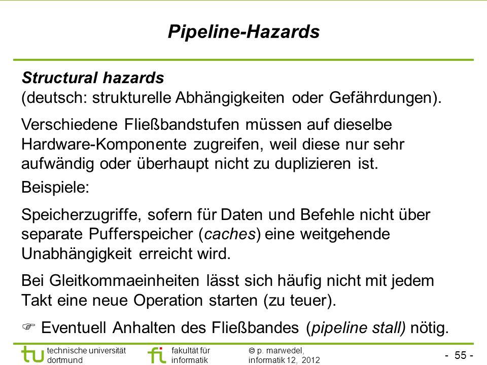- 55 - technische universität dortmund fakultät für informatik p. marwedel, informatik 12, 2012 Pipeline-Hazards Structural hazards (deutsch: struktur