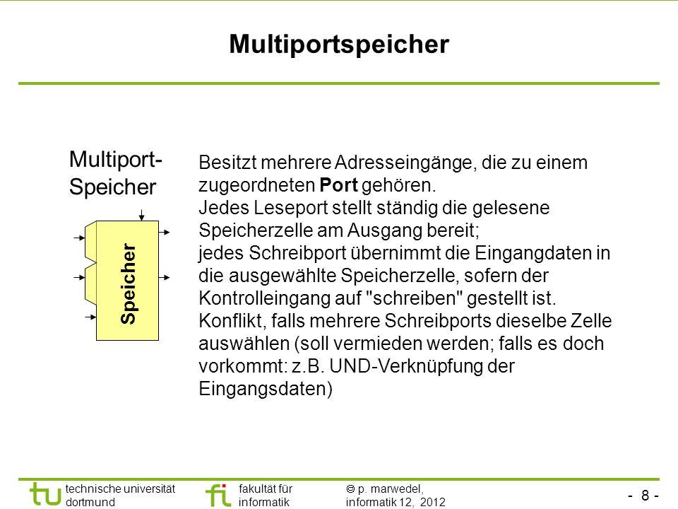 - 8 - technische universität dortmund fakultät für informatik p. marwedel, informatik 12, 2012 Multiportspeicher Speicher Multiport- Speicher Besitzt