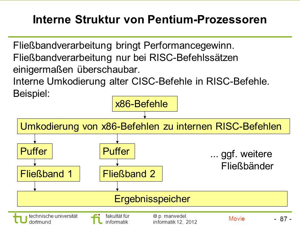 - 87 - technische universität dortmund fakultät für informatik p. marwedel, informatik 12, 2012 Interne Struktur von Pentium-Prozessoren Fließbandvera