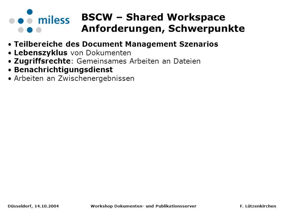Düsseldorf, 14.10.2004 Workshop Dokumenten- und Publikationsserver F.