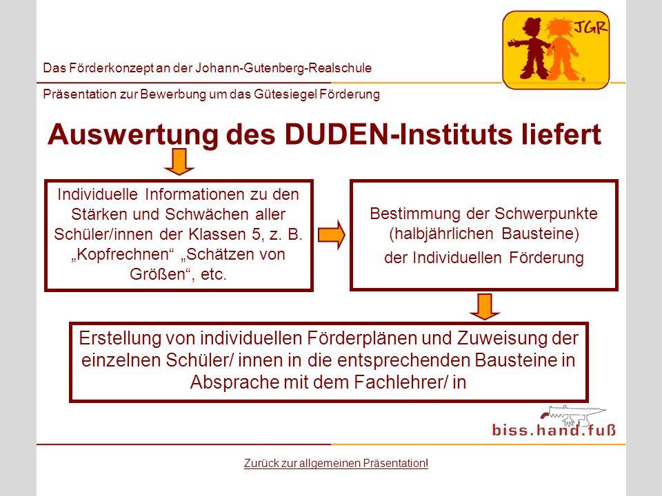 Das Förderkonzept an der Johann-Gutenberg-Realschule Präsentation zur Bewerbung um das Gütesiegel Förderung Auswertung des DUDEN-Instituts liefert Ind