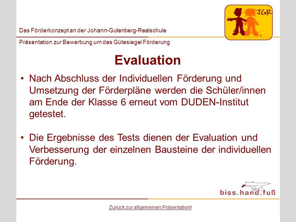 Das Förderkonzept an der Johann-Gutenberg-Realschule Präsentation zur Bewerbung um das Gütesiegel Förderung Evaluation Nach Abschluss der Individuelle