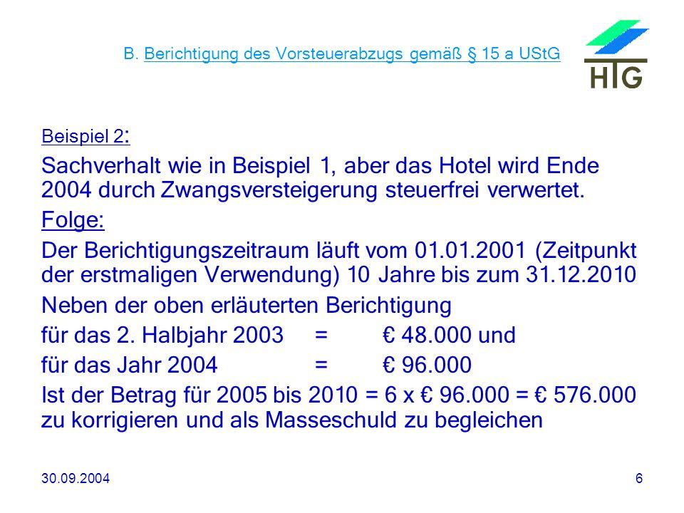 30.09.20046 B. Berichtigung des Vorsteuerabzugs gemäß § 15 a UStG Beispiel 2 : Sachverhalt wie in Beispiel 1, aber das Hotel wird Ende 2004 durch Zwan