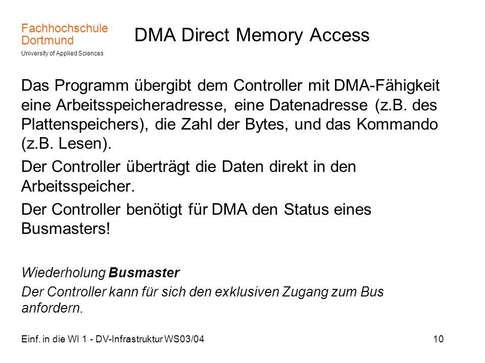 Fachhochschule Dortmund University of Applied Sciences Einf. in die WI 1 - DV-Infrastruktur WS03/0410 DMA Direct Memory Access Das Programm übergibt d