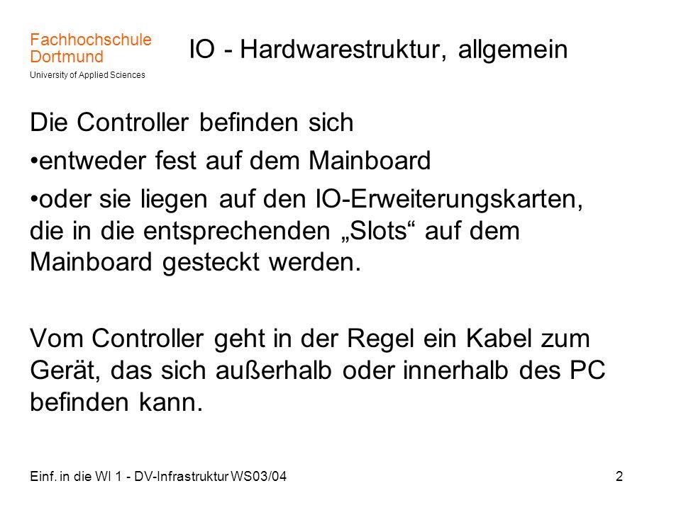 Fachhochschule Dortmund University of Applied Sciences Einf. in die WI 1 - DV-Infrastruktur WS03/042 IO - Hardwarestruktur, allgemein Die Controller b