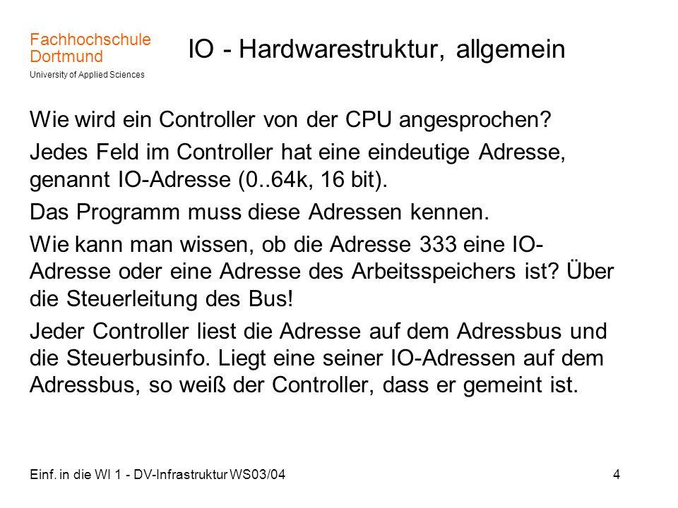 Fachhochschule Dortmund University of Applied Sciences Einf. in die WI 1 - DV-Infrastruktur WS03/044 IO - Hardwarestruktur, allgemein Wie wird ein Con