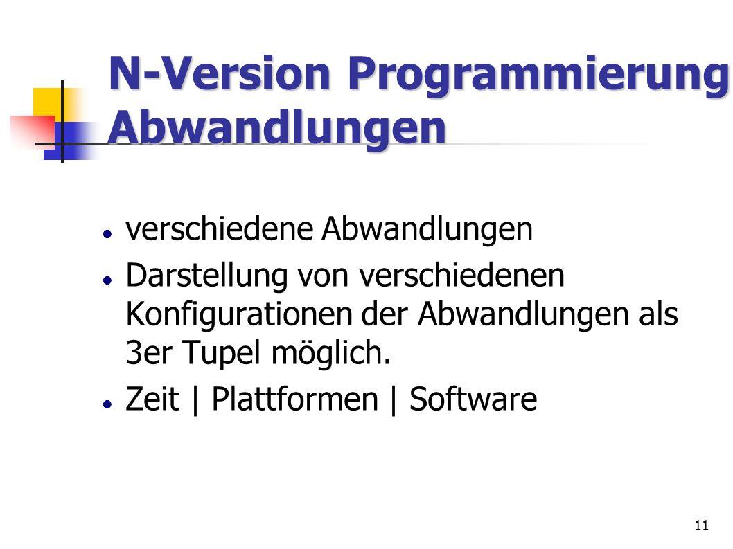 11 verschiedene Abwandlungen Darstellung von verschiedenen Konfigurationen der Abwandlungen als 3er Tupel möglich. Zeit | Plattformen | Software N-Ver