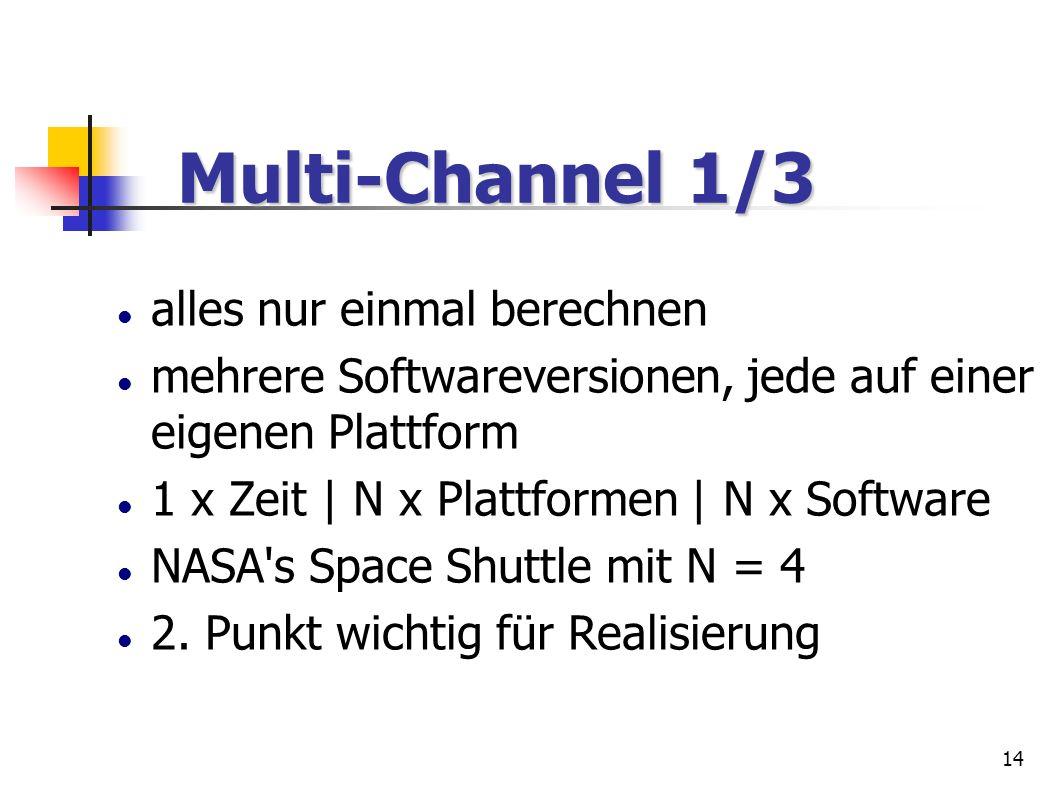 14 Multi-Channel 1/3 Multi-Channel 1/3 alles nur einmal berechnen mehrere Softwareversionen, jede auf einer eigenen Plattform 1 x Zeit | N x Plattform