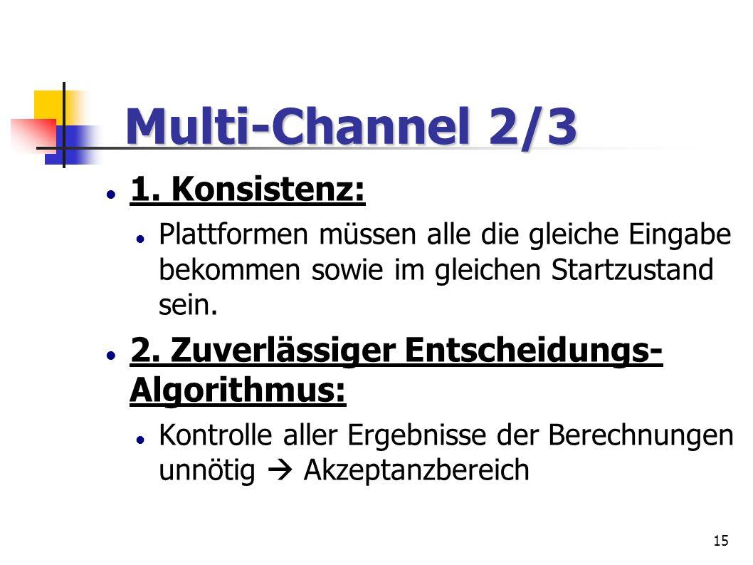 15 Multi-Channel 2/3 Multi-Channel 2/3 1. Konsistenz: Plattformen müssen alle die gleiche Eingabe bekommen sowie im gleichen Startzustand sein. 2. Zuv