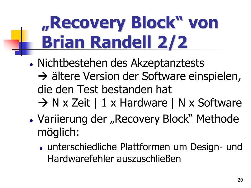 20 Recovery Block von Brian Randell 2/2 Recovery Block von Brian Randell 2/2 Nichtbestehen des Akzeptanztests ältere Version der Software einspielen,