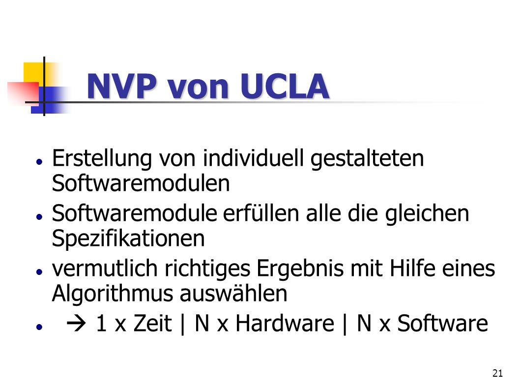 21 NVP von UCLA NVP von UCLA Erstellung von individuell gestalteten Softwaremodulen Softwaremodule erfüllen alle die gleichen Spezifikationen vermutli