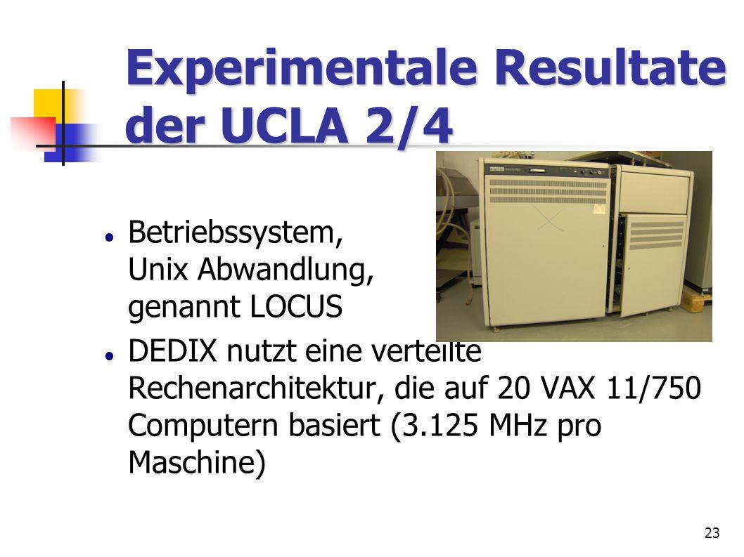 23 Experimentale Resultate der UCLA 2/4 Experimentale Resultate der UCLA 2/4 Betriebssystem, Unix Abwandlung, genannt LOCUS DEDIX nutzt eine verteilte