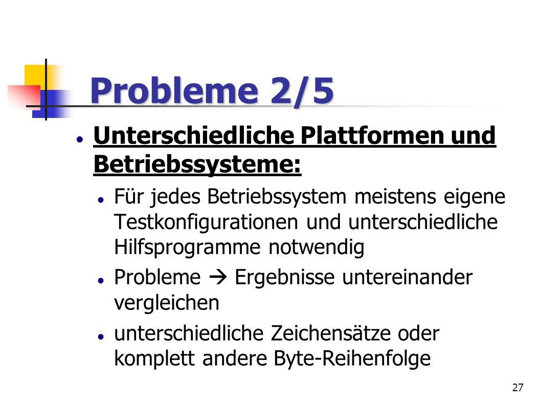 27 Unterschiedliche Plattformen und Betriebssysteme: Für jedes Betriebssystem meistens eigene Testkonfigurationen und unterschiedliche Hilfsprogramme