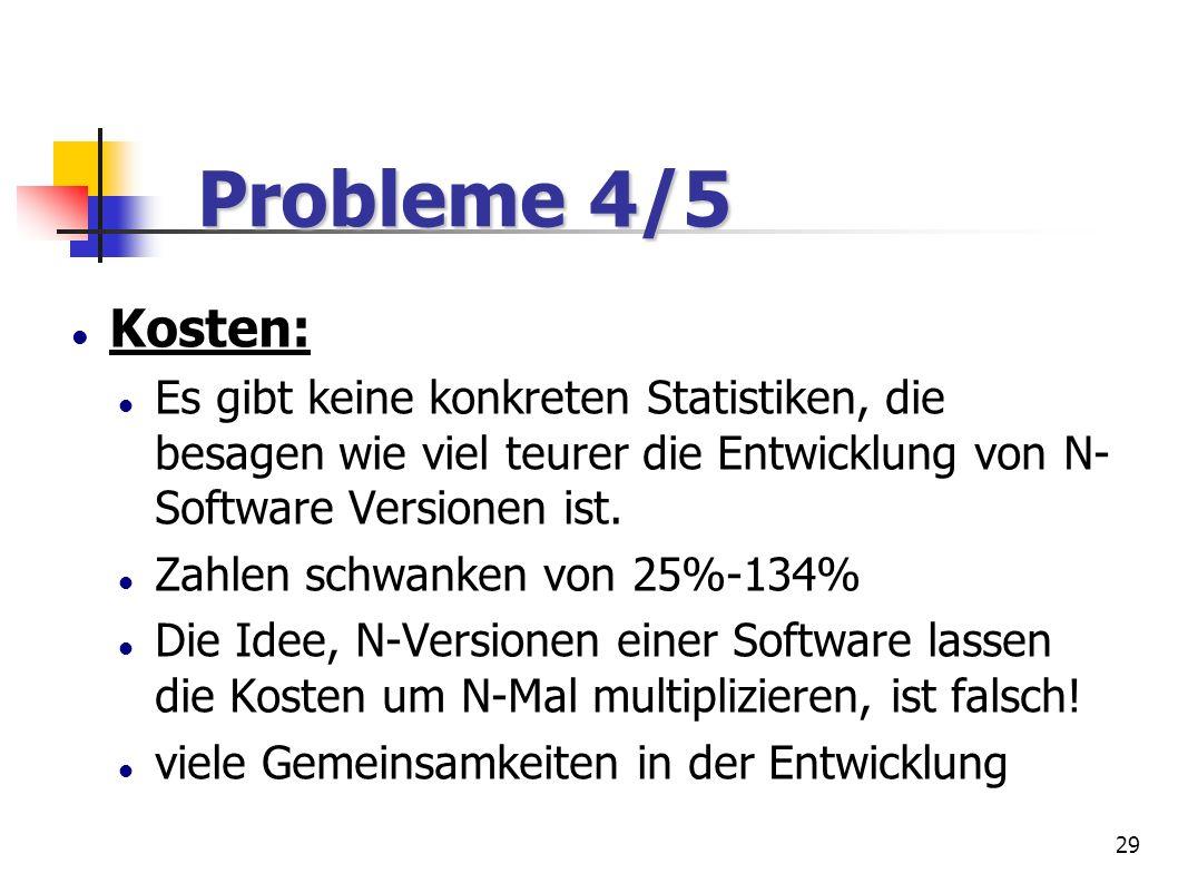 29 Probleme 4/5 Probleme 4/5 Kosten: Es gibt keine konkreten Statistiken, die besagen wie viel teurer die Entwicklung von N- Software Versionen ist. Z