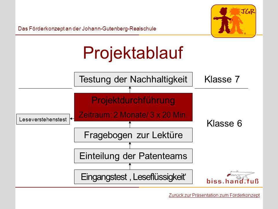 Projektablauf Das Förderkonzept an der Johann-Gutenberg-Realschule Eingangstest Leseflüssigkeit Einteilung der Patenteams Projektdurchführung Zeitraum