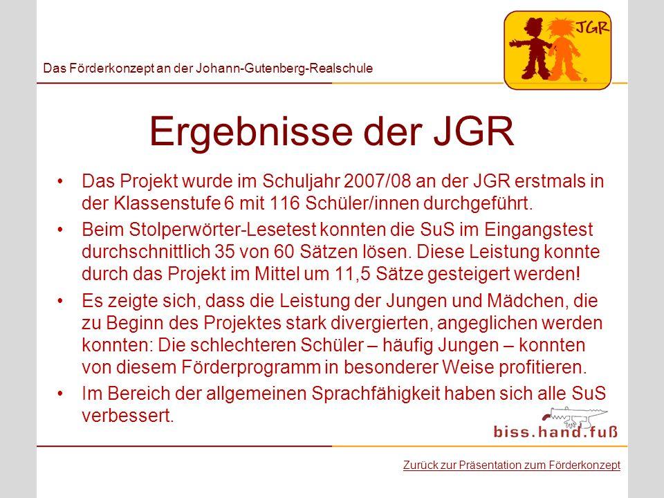 Ergebnisse der JGR Das Projekt wurde im Schuljahr 2007/08 an der JGR erstmals in der Klassenstufe 6 mit 116 Schüler/innen durchgeführt. Beim Stolperwö
