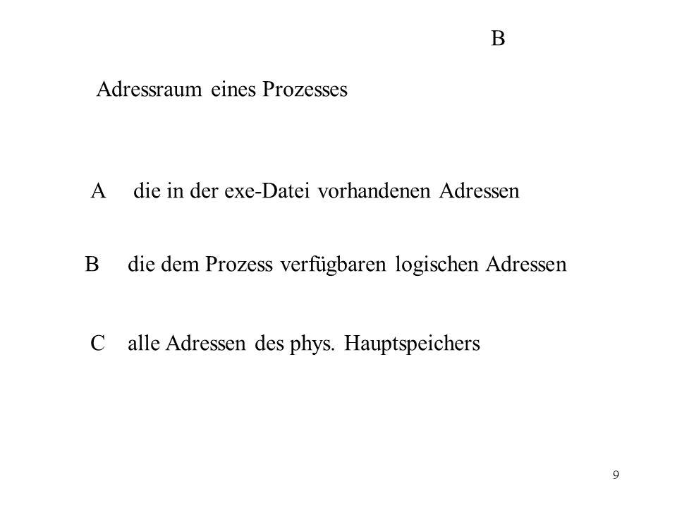 9 Adressraum eines Prozesses A die in der exe-Datei vorhandenen Adressen B die dem Prozess verfügbaren logischen Adressen C alle Adressen des phys.
