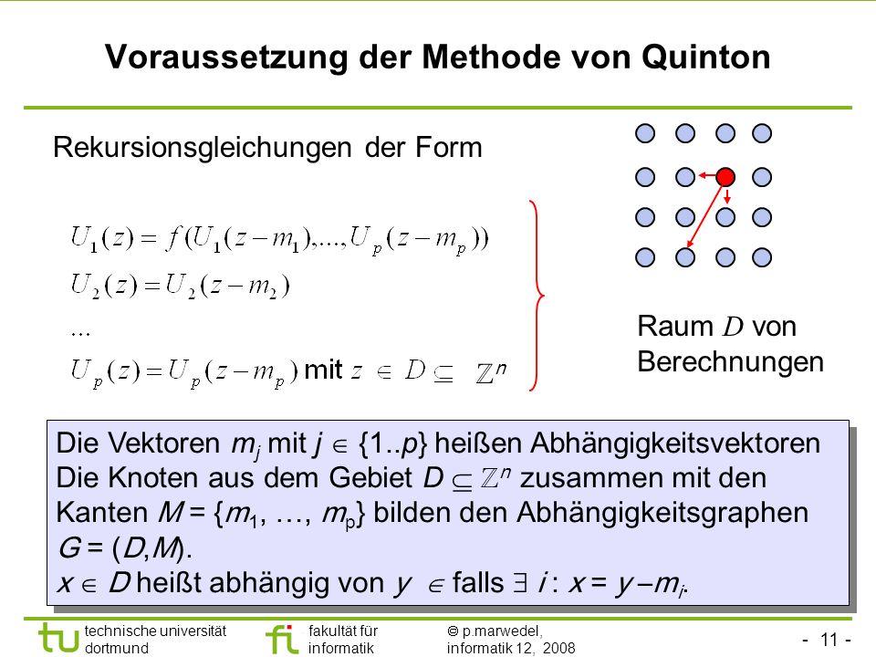 - 11 - technische universität dortmund fakultät für informatik p.marwedel, informatik 12, 2008 Voraussetzung der Methode von Quinton Rekursionsgleichu